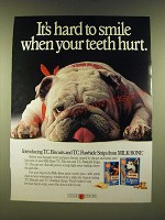 1990 Milk-Bone T.C. Biscuits and T.C. Rawhide Strips Ad - It's hard to smile