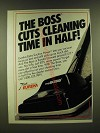 1990 Eureka The Boss Vacuum Cleaner Ad - The Boss cuts cleaning time in half!