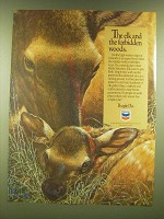 1990 Chevron Oil Ad - The elk and the forbidden woods