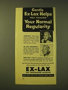 1956 Ex-Lax Laxative Ad - Gentle Ex-Lax helps you toward your normal regularity