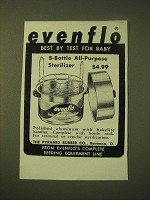 1956 Evenflo Baby Bottle Sterilizer Ad - Evenflo best by test for baby