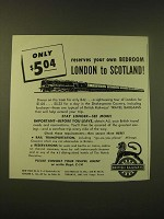 1952 British Railways Ad - Only $5.04 reserves your own bedroom
