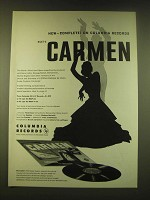 1951 Columbia Records Ad  - complete on Columbia Records Bizet's Carmen