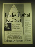 1951 Columbia Records Ad - Prades Festival directed by Pablo Casals