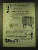 1951 Motorola Model 17F7 TV Ad - Which is most important to You?