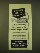 1951 Bank of America Travelers Cheques Ad - Spend them like cash