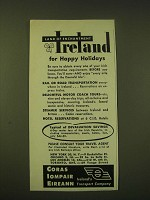1951 Coras Iompair Eireann Ad - Land of Enchantment Ireland for Happy Holidays