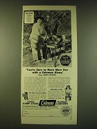 1950 Coleman Folding Camp Stove and Floodlight Lantern Ad - Andy Devine