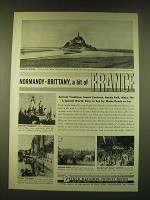 1950 French National Tourist Office Ad - Normandy Brittany, a bit of France