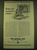 1950 The Mutual Life Insurance Company of New York Ad - shoemaker's children