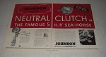 1950 Johnson Model TN Outboard Motor Ad - Johnson presents Neutral clutch