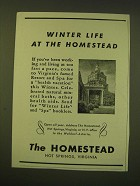 1947 The Homestead Resort and Spa Ad - Winter Life at the Homestead