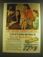 1941 Beech-Nut Gum Ad - 919 College students quizzed! 3 out of 5 prefer