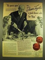 1941 Wine Advisory Board Ad - Deems Taylor -My guests agree