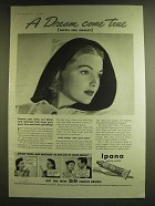 1939 Ipana Tooth Paste Ad - A dream come true until she smiles