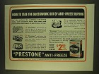 1939 Prestone Anti-Freeze Ad - How to take the guesswork out of anti-freeze