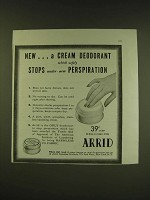 1938 Arrid Antiperspirant Ad - New… a cream deodorant which safely stops