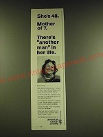 1966 American Cancer Society Ad - She's 48. Mother of 7. There's another man