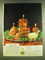 1966 Hellmann's Mayonnaise Ad - recipe for Cranberry Candle Salads