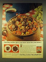 1964 Chef Boy-Ar-Dee Meat Ball Stew Ad - Chef Boy-Ar-Dee gives you more meat