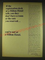 1964 Hilton Hotels Ad - If the registration desk at a Hilton Hotel tells you