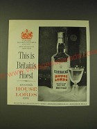 1963 Booth's House of Lords Gin Ad - This is Britain's Finest
