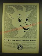 1961 Great Northern Railway Ad - It all goes great when it goes Great Northern