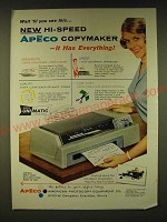 1961 Apeco Copymaker Ad - Wait 'til you see this New hi-speed Apeco copymaker