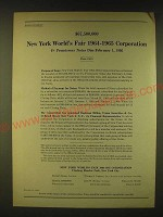 1961 New York World's Fair 1964-1965 Corporation Ad - $67,500,000