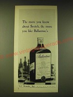 1960 Ballantine's Scotch Ad - The more you know about Scotch, the more you like