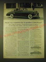 1960 Rolls-Royce Silver Cloud II Car Ad - Should every corporation buy