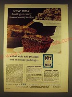 1958 Pet Milk Ad - Chocolate frosting and chocolate clusters recipes