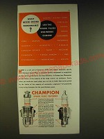 1936 Champion Spark Plugs Ad - Want better engine performance?