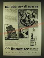1936 Budweiser Beer Ad - One thing they all agree on