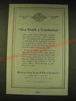 1936 Bank of New York & Trust Company Ad - Not worth a continental