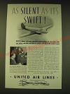 1936 United Air Lines Ad - As silent as it's swift