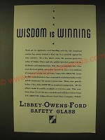 1935 Libbey-Owens-Ford Safety Glass Ad - Wisdom is winning
