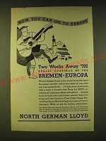 1933 North German Lloyd Cruise Ad - Now you can go to Europe