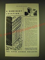 1933 The Fifth Avenue Building Ad - A dominant location