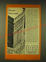 1933 The Fifth Avenue Building Ad - The prestige of a famous name