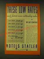 1933 Hotels Statler Ad - These low rates make Statler rooms outstanding values