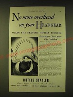 1933 Hotels Statler Ad - No more overhead on your Headgear