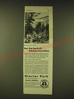1933 Great Northern Railroad Ad - see the-land-of-shining-mountains