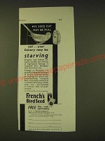 1933 French's Bird Seed Ad - His seed cup may be full yet