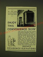1933 Sedgwick Residence Elevators Ad - Enjoy this convenience now