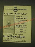 1933 Grande Maison de Blanc Ad - A special import value
