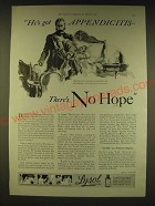 1931 Lysol Disinfectant Ad - He's got appendicitis there's no hope