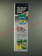 1990 Miracle-Gro No-Clog Feeder Ad - Now, feed your entire garden and lawn
