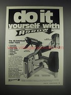 1990 Arrow Ad - HT-50A Hammer Tacker, TR-550 Hot Melt Glue Gun, T-50 Staple Gun