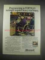 1990 Microsoft Fortran 5.0 Ad - Programming no longer requires heavy machinery